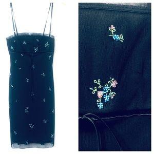BCBGMAXAZARIA Black Mini Beaded Slip Dress.